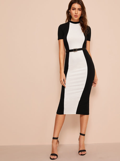 Black and White Split Midi Dress Bodycon Dress