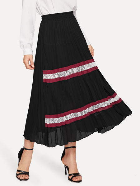 Black Elastic Lace Insert A-Line Skirt