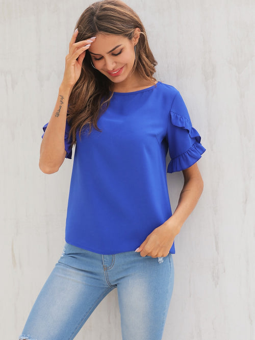 Blue Contrast Ruffle Round Neck Blouse