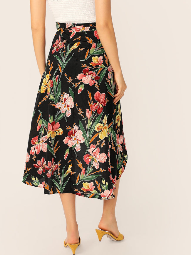 Multicolor Asymmetrical Floral Print Wrap Skirt