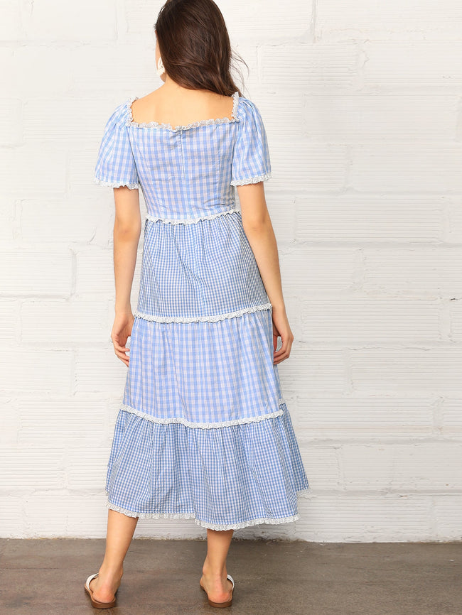Blue Trim Tiered Mixed Gingham Lace Dress A-Line Dress Midi Dress
