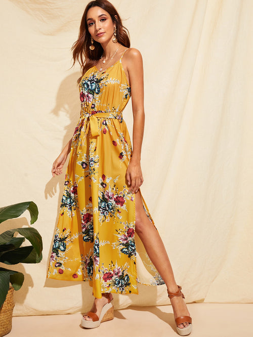 Yellow  Flower Print Split Thigh Belted Slip Maxi Dress