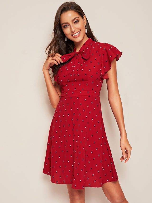 Burgundy Fit & Flare A-Line Dress