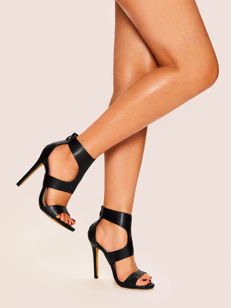 Plain Cut Out Decorated Stiletto Heels