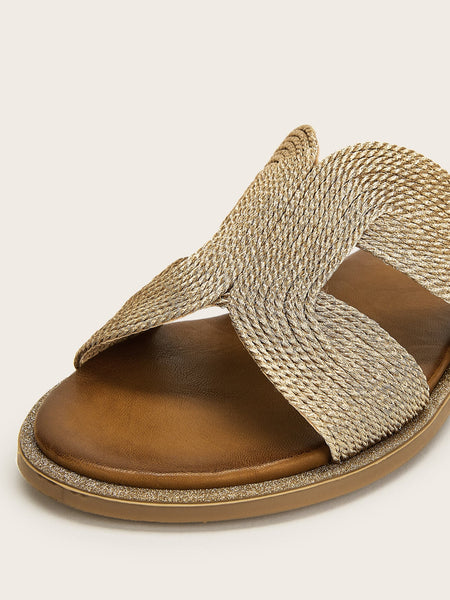Woven Detail Open Toe Slippers