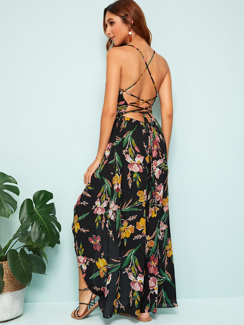 Black Boho  Floral Print High Low Hem Slip Maxi Dress