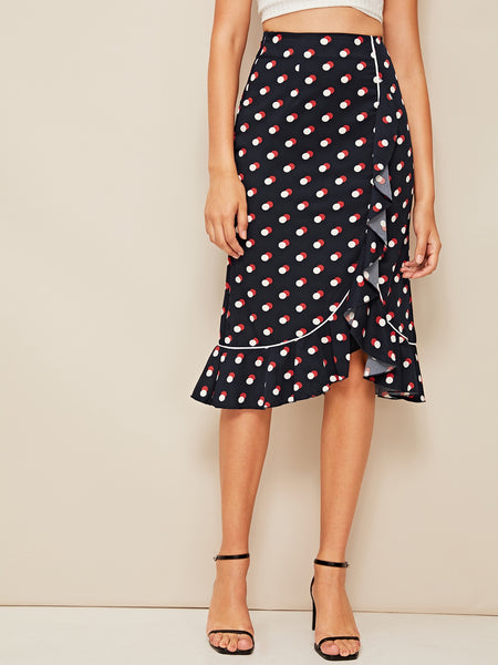 Navy Polka-dot Ruffle Hem Wrap Pencil Skirt
