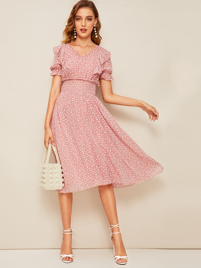 Soft Green Tie Neck Lantern Sleeve Pleated A-Line Dress