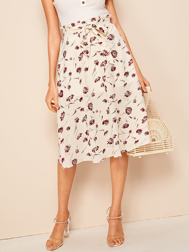 Beige Ditsy Floral Tie Front A-Line Midi Skirt