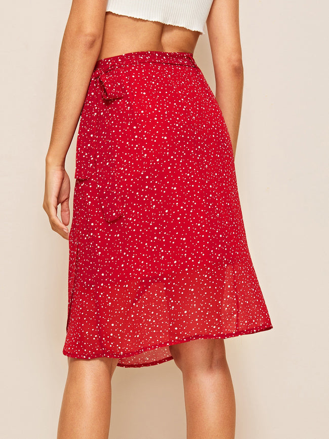Red Polka Dot Print Tulip Wrap Skirt