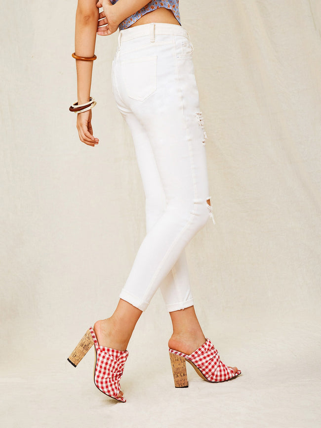 Gingham Detail Chunky Heeled Mules