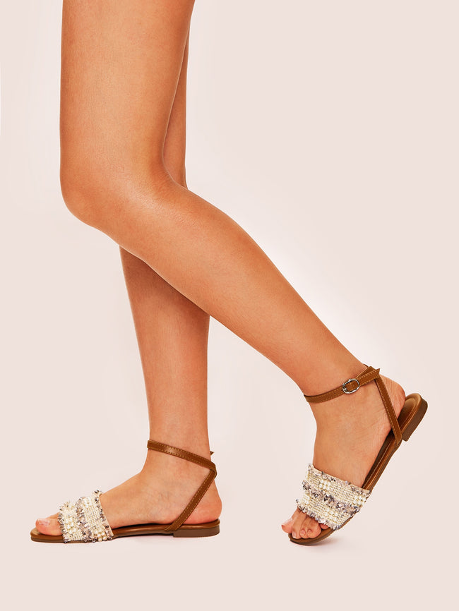 Beaded Ankle Strap Tweed Sandals