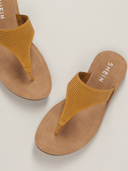 Tan Rubber Perforated Flat  Sandals