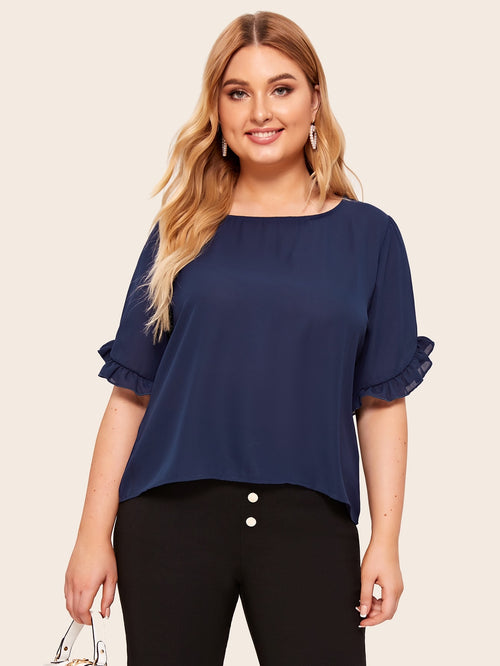 Navy Plus Size Round Neck Solid Blouse