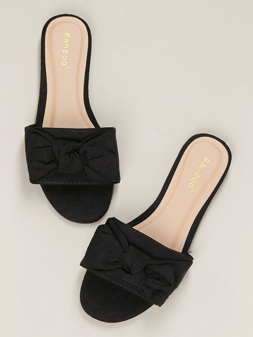 Bow Accent Band Flat Slide Sandals