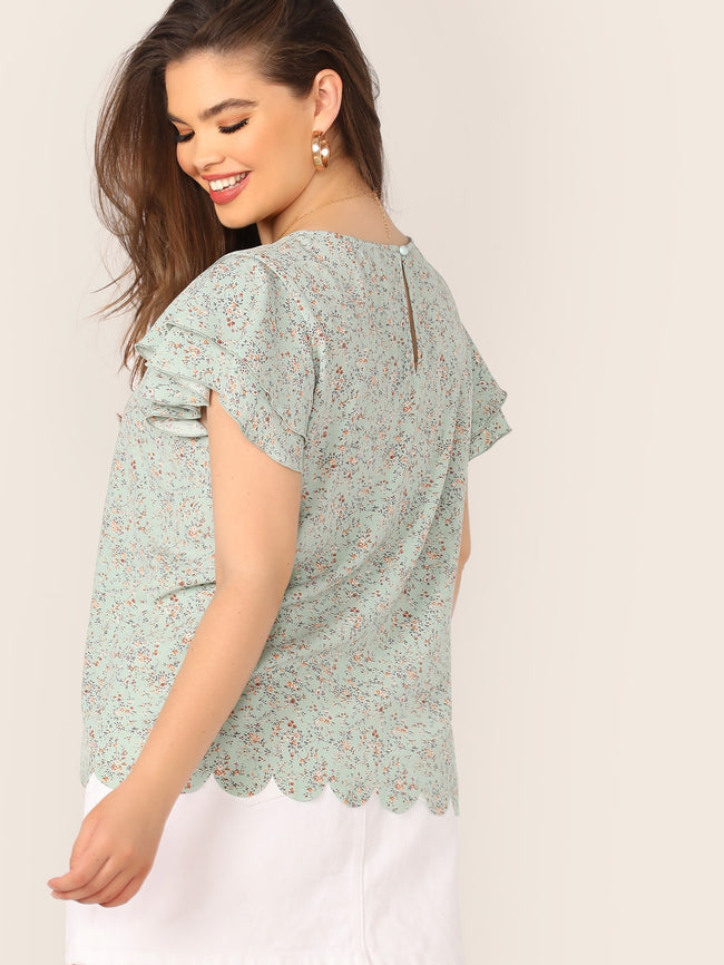 Green Plus Size Round Neck Ditsy Floral Blouse