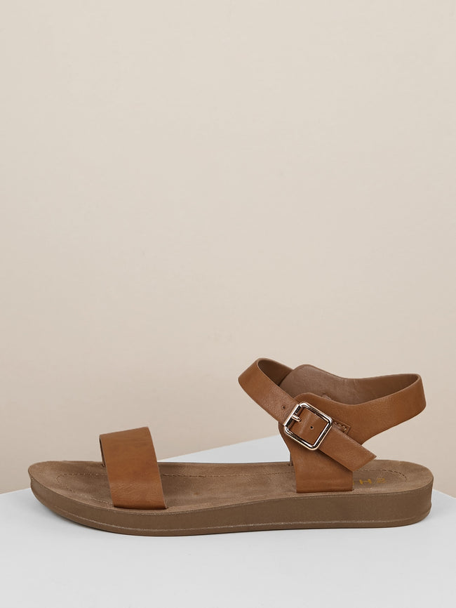 Buckled Ankle Strap Solid Band Sandals