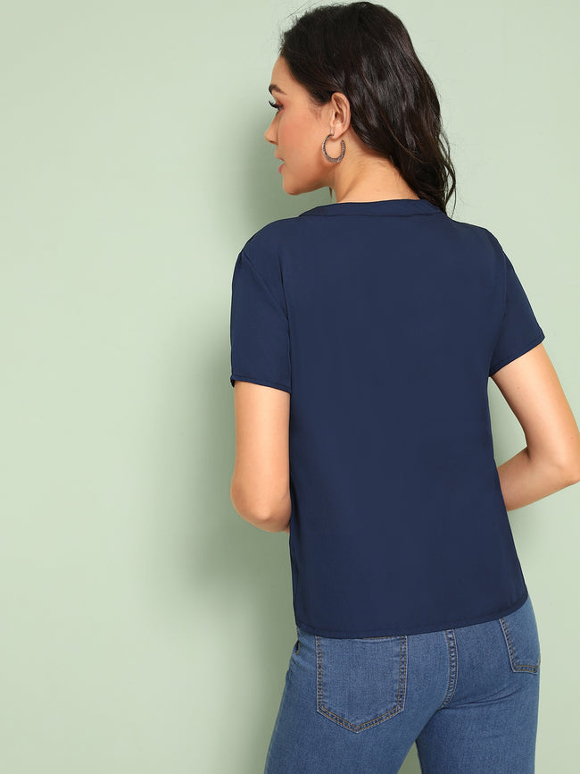Navy Button Front Short Sleeve Blouse