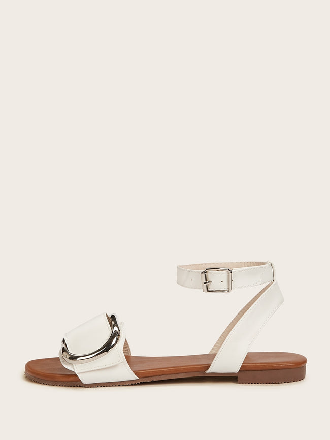 White Buckle Open Toy Sandals