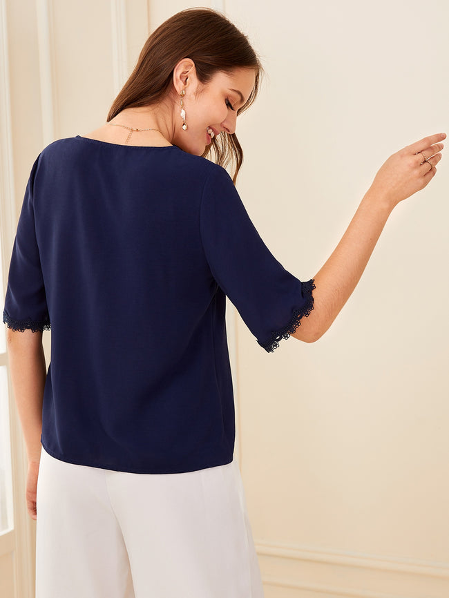 Navy Button Front Lace Trim Blouse