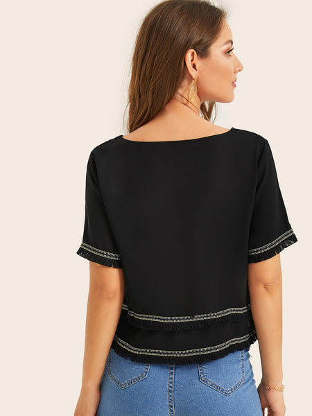 Black Roun Neck Casual Top Blouse