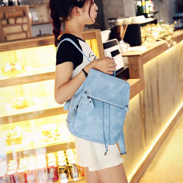 2018 College wind shoulder bag PU leather women's small bag fashion ladies backpack