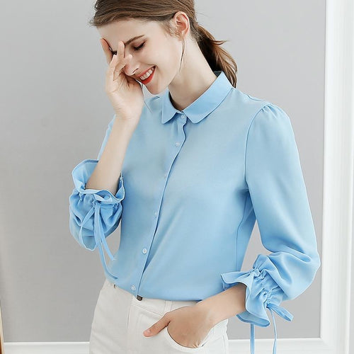 White,Sky Blue Chiffon Autumn Tops Fashion BIBOYAMALL Shirts