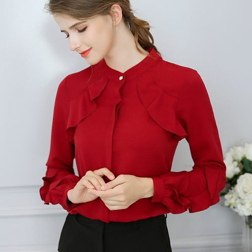 Casual OL Blouse Loose Long Sleeve Work Wear Blusas Feminina Tops Shirts Plus Size Red