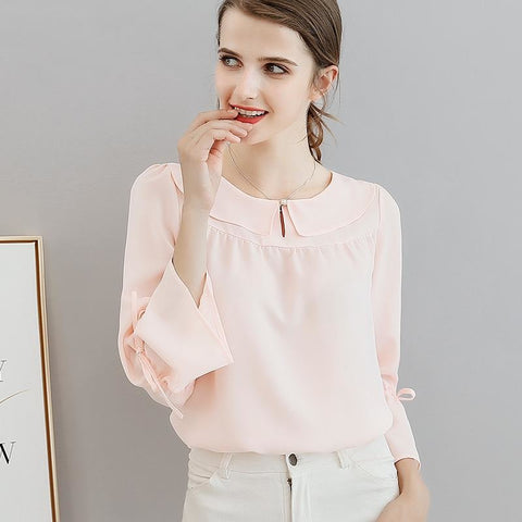 Spring Ol Office Work Lady Red Chiffon Blouses Elegant Blouses