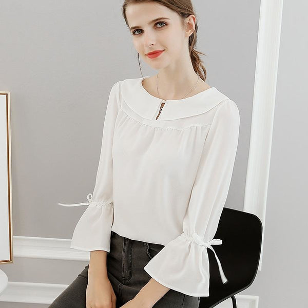 Spring OL Office Work Lady Red Chiffon Blouses Elegant Blouses Female Shirt Tops Plus Size XXL