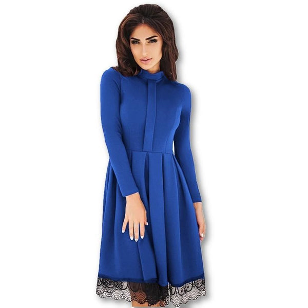 Elegant Mini Long Sleeves Preppy Lace A-Line Dress