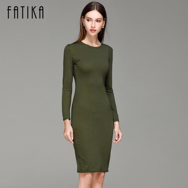 b06f5389d5ef Bodycon Dress Jewish Girl Olive Green O-Neck Long Sleeve Knee-Length  Bodycon Dress ...