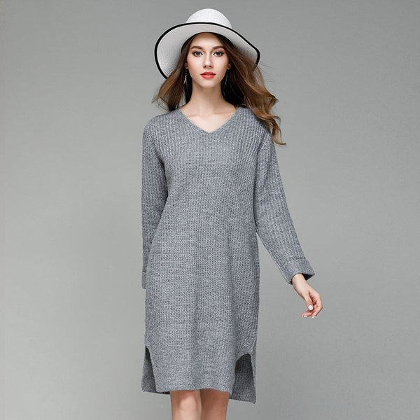 Jewish Girl V-Neck Loos Midi Sweater Dress