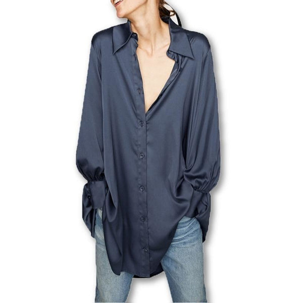 HAODUOYI HDY 2018 Spring Woman Blue Satin Shirt Style Button Asymmetric Hem Long Shirt Fashion Casual Loose Long Sleeve Blouses