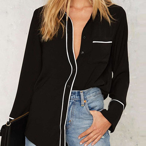 HDY Haoduoyi 2017 Autumn Women Fashion Solid Black Single Breasted Straight Shirt Long Sleeve Turn-down Collar Casual Blouse