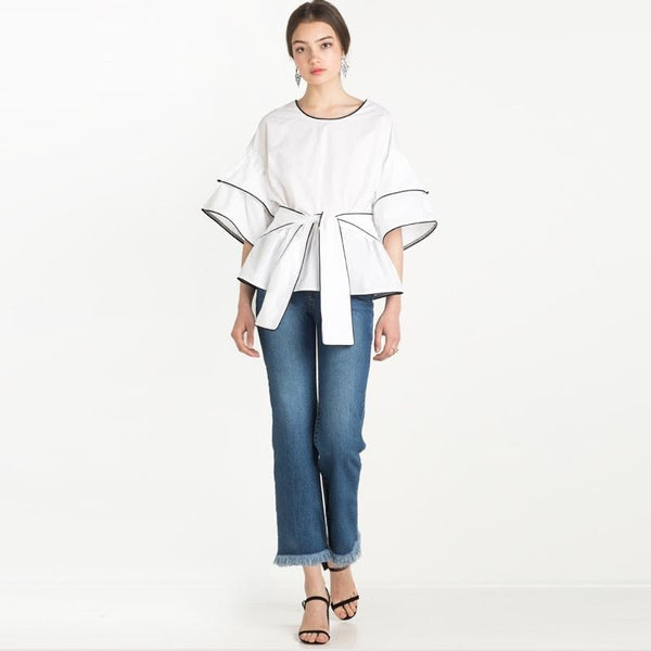 White Crew Neck Half Sleeve Blouse