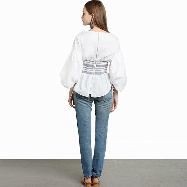 Shirts Blouse Casual Solid White lantern Sleeve Shirt Blouse