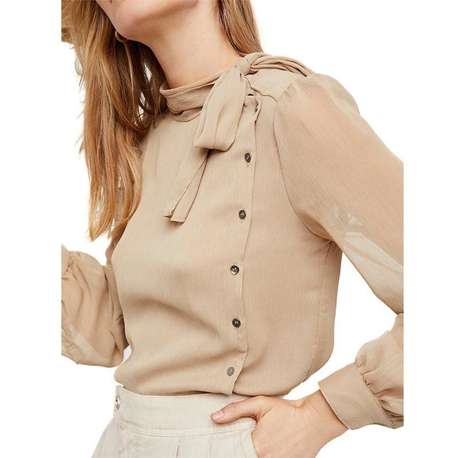 Light Khaki Semi-Sheer Belt Single Breasted Top Blouse