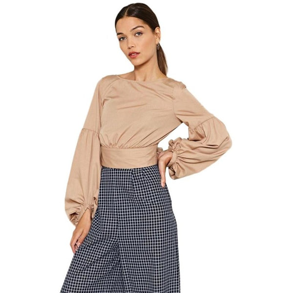 ... HDY Haoduoyi Brand 2018 Women Nude Cast Your Tie Over It Crop Tops Bow  Back Lantern ...