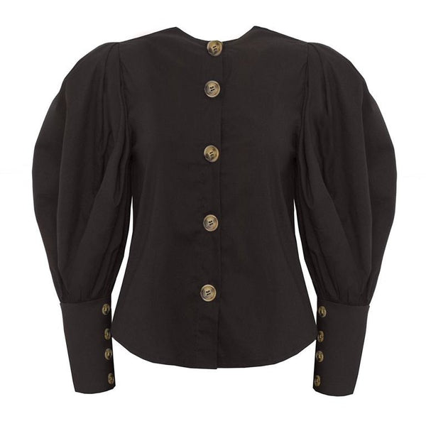HDY Haoduoyi Brand Women Black Casual Shirts Singal Buttons Lantern Sleeve Female Vintage Blouses O-Neck Elegant Tops Lady