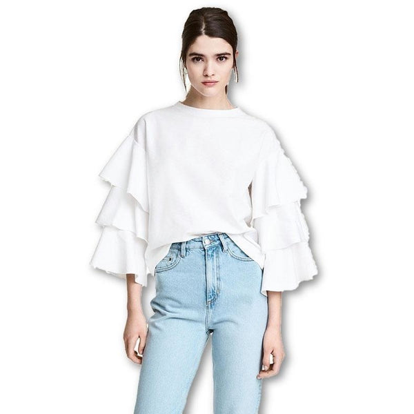 White T-shirt Women Tops Sweet 3/4 Sleeve T-Shirt Fashion Tops
