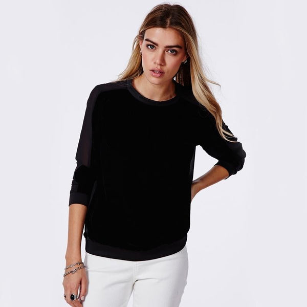 Black Solid Patchwork Pullover Sweet Style Blouses Shirts Tops