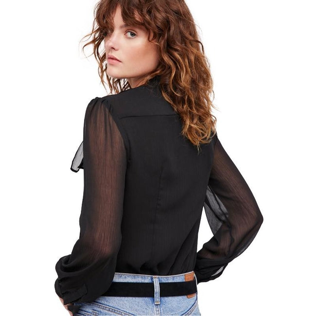 HDY Haoduoyi Solid Black Mesh Semi-Sheer Women Shirts O-neck Full Sleeve Button Bowknot Belt Lady Tops Casual Female Blouse