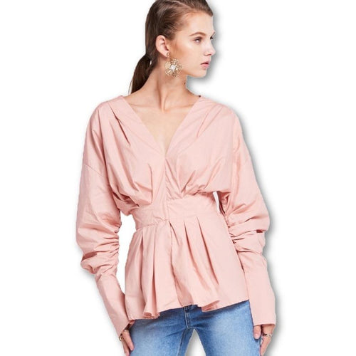 Pink Solid Sweet Puff Sleeve V-Neck Casual Elegant Blouses Shirts Tops