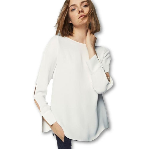 White Sweet Fashion Long Sleeve O-neck Blouses Shirts Tops