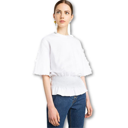 White Sweet O-neck Half Sleeve Ruffle Pullover Shirts blouses Tops