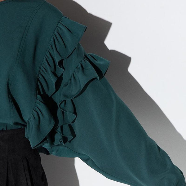 Green Frill Hi-lo Blouse Sweet Crew Neck Shirts Blouses Tops
