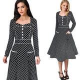 Jewish Girl Women Autumn Winter Vintage Pinup Polka Dot Pocket Button Long Sleeve Work Party Cocktail Swing Skater A Line Dress 8416
