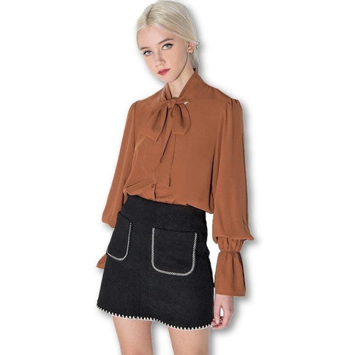 Brown Bow Lantern Sleeve Solid Blouses