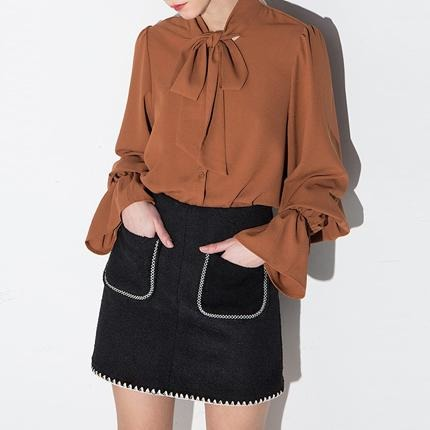 a2ab665d2d2cf Brown Bow Lantern Sleeve Solid Blouses – Jewish girl